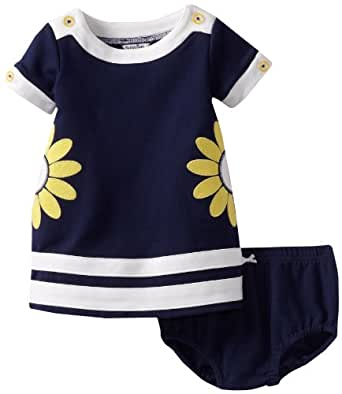 Hartstrings Baby Girls' Knit Ponte Short Sleeve Dress and Diaper Cover Set, Light Navy, 18 Months