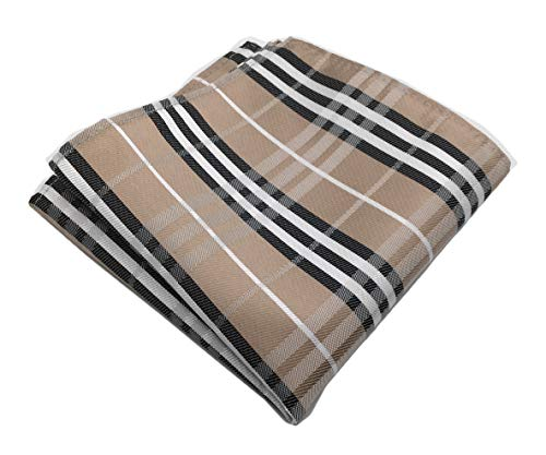 MENDENG Men's Brown White Plaid Stripe Pocket Square Formal Hanky - Pocket Square Plaid