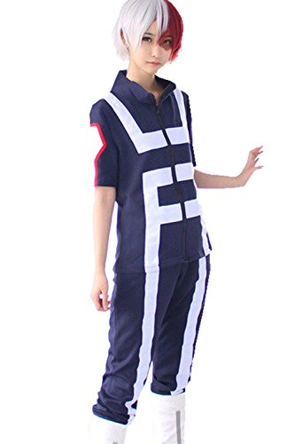 Thundervolt Anime Cosplay My Hero Academia Gymnastics Uniforms Costume (XLarge) Navy Blue -