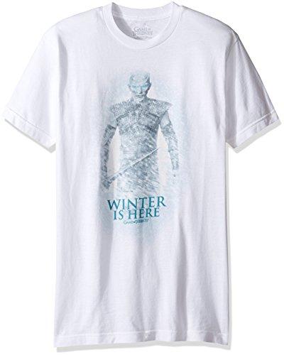 HBO Game Of Thrones Men's Night King Winter is Here T-Shirt, White, Medium