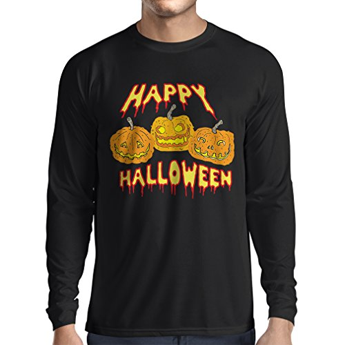 Long sleeve t shirt men Happy Halloween! Party Outfits & Costume - Gift Idea (XX-Large Black Multi Color)