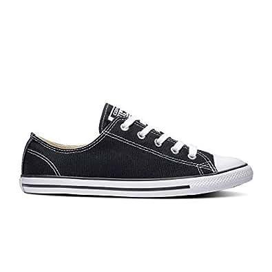 Converse Women's Dainty Canvas Low Top Sneaker, Black, 5 M US