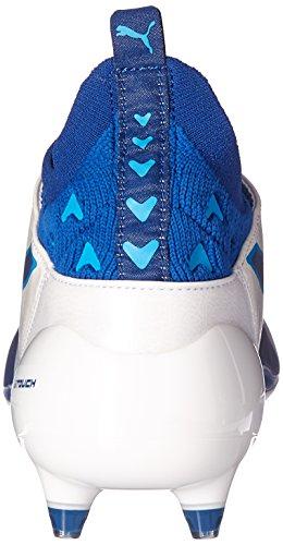 Scarpe da calcio Evotouch Pro FG da uomo, Puma White-True Blue-Blue Danube, 10 M US