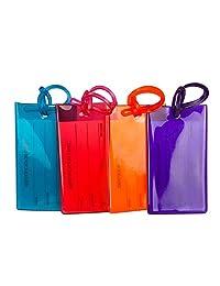 Canotagio Set de 4 Identificadores de Maletas de Viaje. Identificadores de equipaje Plásticas de Colores para Valijas, Mochila o Bolsa con Gancho y Tarjeta para Datos Personales. Luggage Tag. (4pzas)