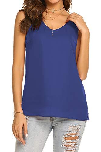 BLUETIME Women Casual Sleeveless Tops Chiffon Blouse Side Split V Neck Simple Plain T Shirt (L, - Sleeveless Blouse Chiffon