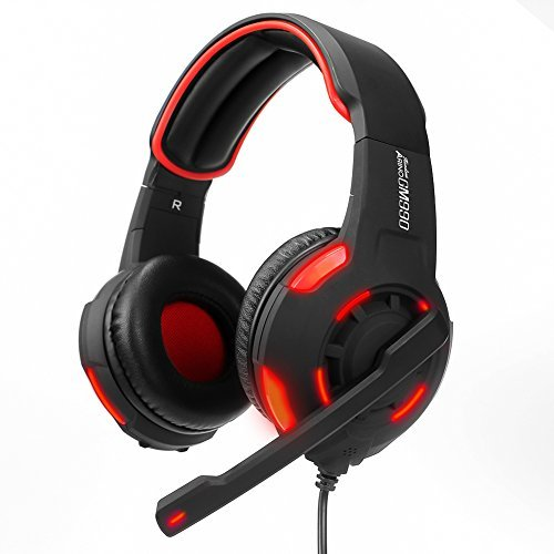 ARINO Led Gaming Headset GM990 Over-Ear Lightweight Headphones 3.5mm 5.1 Dual Stereo Sound USB Wired with Mic for PC MAC PS4, XBOX One Game Skype VOIP Music