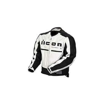 Icon Mens Motorhead Leather Motorcycle Jacket White/Black Large L