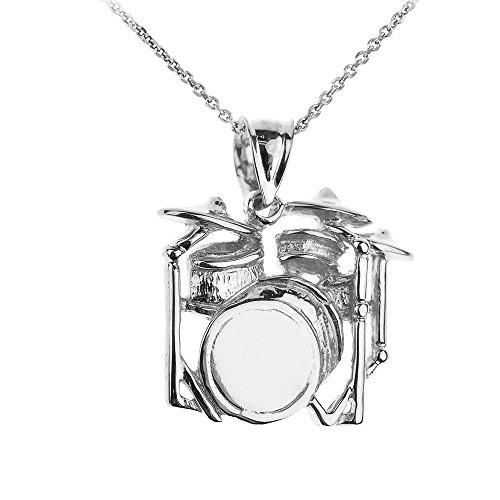 Collier Pendentif 10 ct Or Blanc Tambour Musique (Livré avec une 45cm Chaîne)