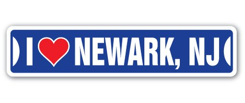 [SignJoker] I LOVE NEWARK, NEW JERSEY Street Sign nj city state us wall road décor gift Wall Plaque Decoration