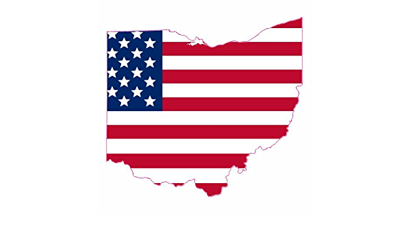"""Ohio USA United States Sticker 4.70x1.18/"""" Domed Resin 3D Flag Stickers Gel"""