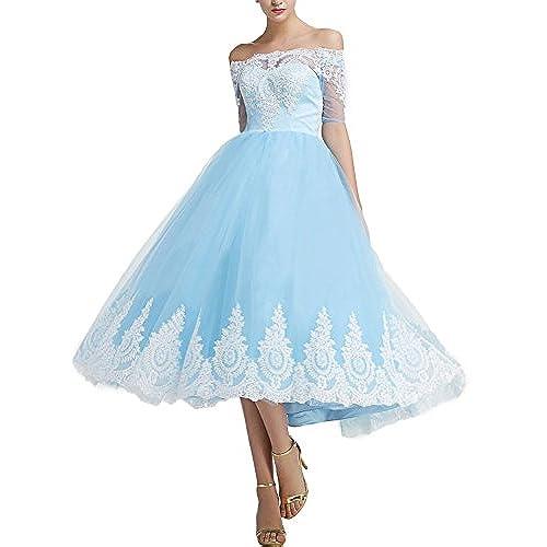 Plus Size Blue Tea Length Dress: Amazon.com