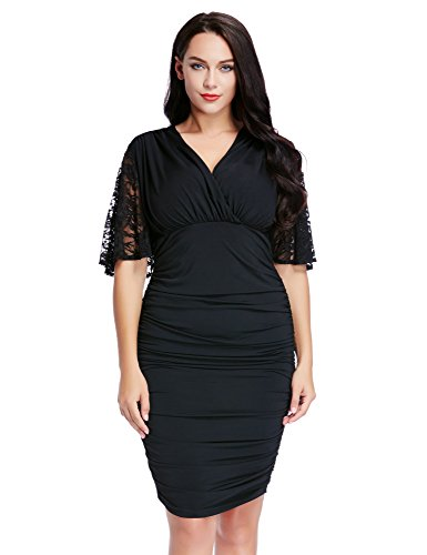 LookbookStore-Womens-Plus-Size-Black-V-Neck-Ruched-Cocktail-Party-Bodycon-Dress