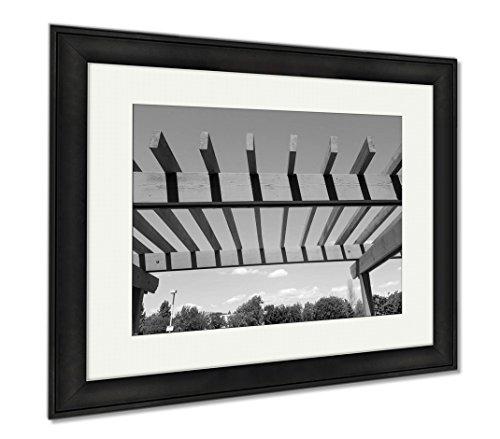 Ashley Framed Prints Portland Shady Pergola, Modern Room Accent Piece, Black/White, 34x40 (frame size), Black Frame, (Pergola Wall Supports)