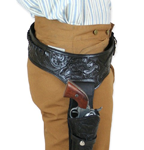 Historical Emporium Men's Right Hand Tooled Leather Western Gun Belt and Holster .38/.357 cal 42 (Leather Western Gun Belt)