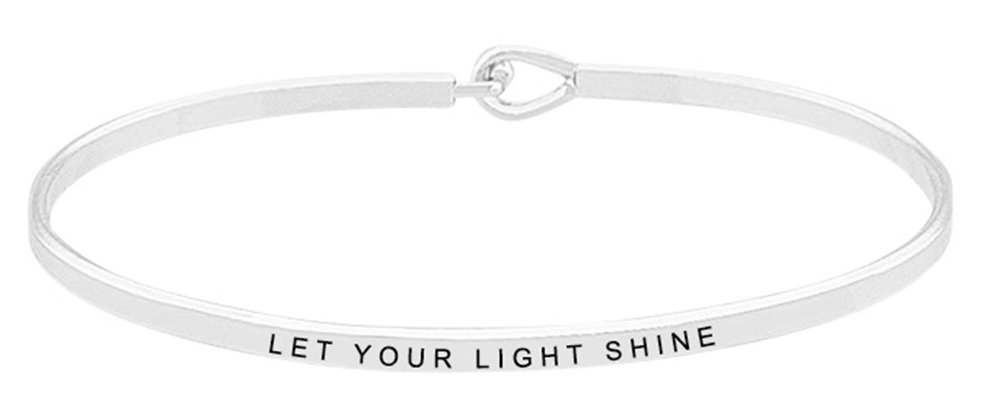 Inspirational Bracelet - ''LET YOUR LIGHT SHINE'' - Positive Message Mantra Bible Verse Cuff Bangle - Motivational Jewelry Gifts for Women and Teen Girls (Silver)