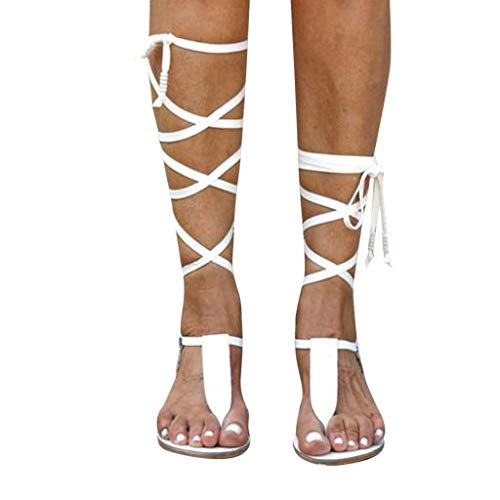 Women Gladiator Sandals Flat,Summer Strappy Lace Up Open Toe Knee High Flat Sandal White