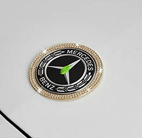 Gold Boobo Ice Out Front Hood Badge Bling Ring Emblem with Genuine Austrian Crystal for Mercedes Benz