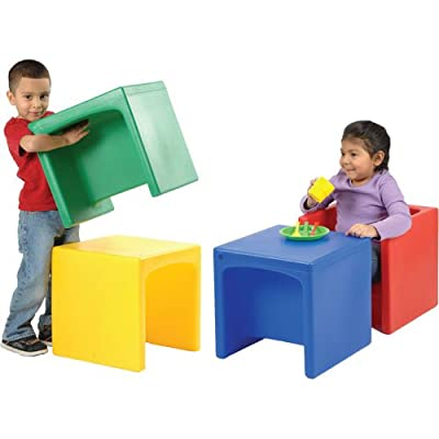 Cube Chairs Set of 4 That Can Be Flipped to Two Different Seat Heights or as a Table