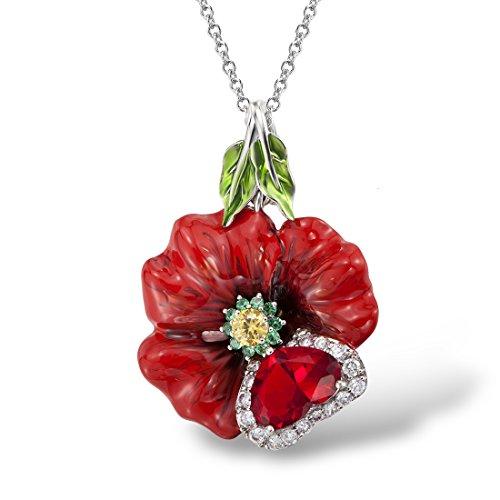 el Rose Pendant Handmade Enamel Natural Stone Green Spinel White CZ ()