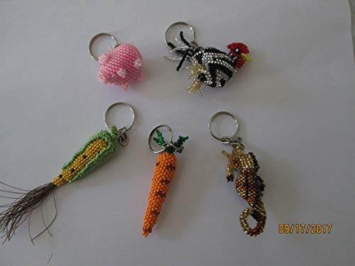 Pick 2 hand beaded key chain keychains keychain guatemalan either an ear of corn carrot chicken rooster pink pig or gold & purple seahorse beadwork handmade -