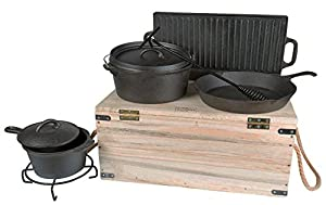 """Cast Iron 11 Piece Cook Box Set w/ 12"""" Skillet, 20""""x9"""" Griddle, 4.5qt Oven Pot & 2.5qt Saucepot for Outdoor and Indoor Cooking – Includes Vintage Carrying & Storage Box, Care Set,"""