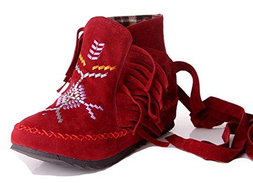 Aisun Kvinners Fringed Brodert Trekk På Ankelen Wrap Runde Tå Sokker Heis Lave Hæler Ankel Boots Med Frynser Rød