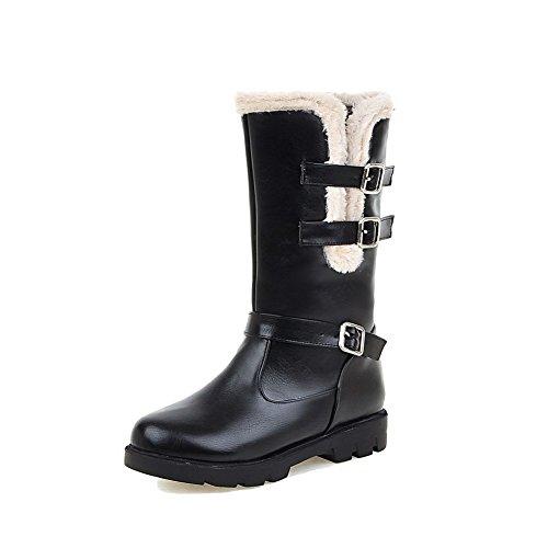 VogueZone009 Damen Blend-Materialien Spitz Zehe Niedriger Absatz Ziehen auf Rein Stiefel Schwarz