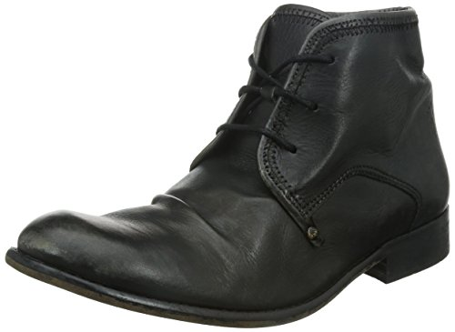 FLY London Mens Watt Lace-Up Boot Black Leather