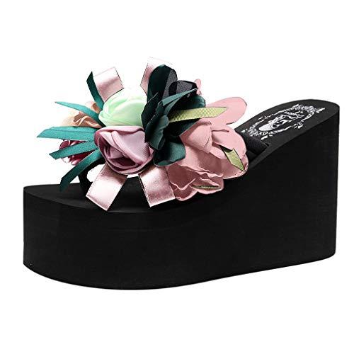 Women's Wild Slippers,Dainzuy Non-Slip Beach Sandals Thick-Soled Slope Sponge Cake Shoes Flowers Seaside Flip-Flops Pink ()