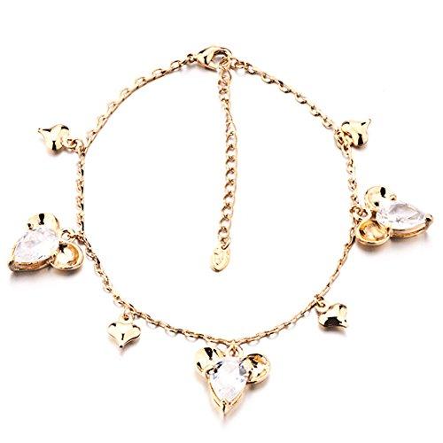 Anklet Bracelet Golden Cute Mickey Mouse Crystal Ankle Bracelet Anklet Lobster Clasp 8 inch