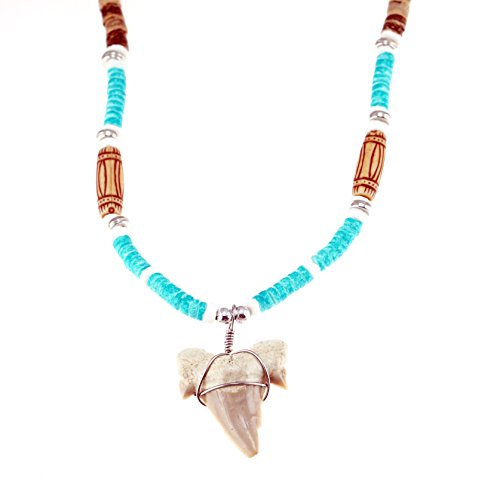 Shark Tooth Pendant on Tiger Coconut Wood Beaded Necklace with Blue Puka Shells (2S Shark Tooth)