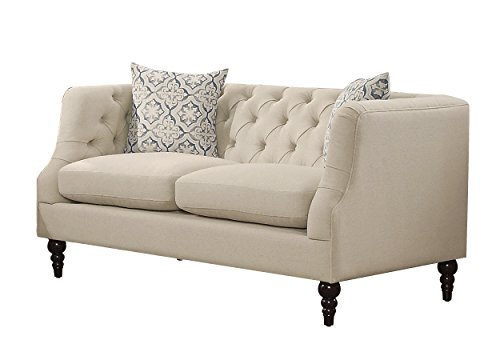 Homelegance Radley Button Tufted Loveseat with Contour Arms and Two Throw Pillows, Beige