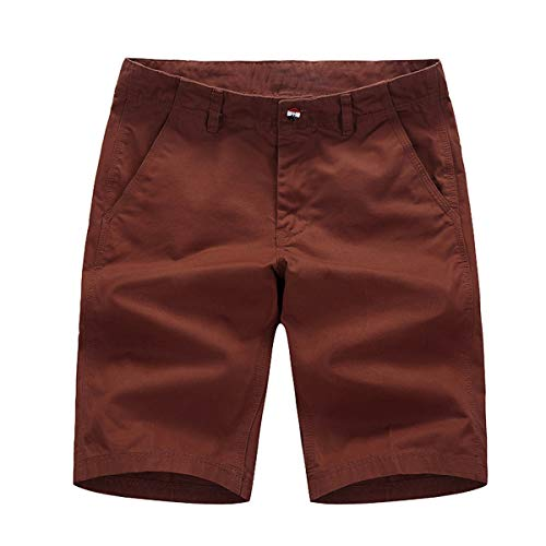 Voncheer Mens Flat Front Classic Fit Summer Casual Cotton Shorts with 4 Pockets (30, Brown Men Shorts) ()