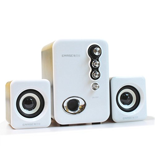 EARISE Q8 USB Powered 2.1 Stereo Computer Speakers with Subwoofer White (Compute Speaker)