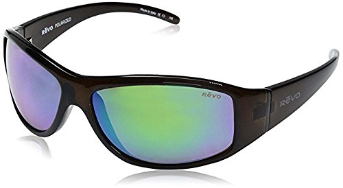 Revo Re 5014 Tander Wraparound Polarized Wrap Sunglasses, Brown Horn Green Water, 64 - Sunglasses Around Wrap Rx