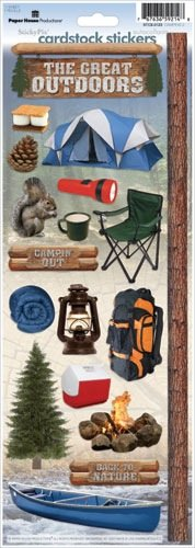 Paper House Productions STCX-0123E Cardstock Stickers, Camping 2