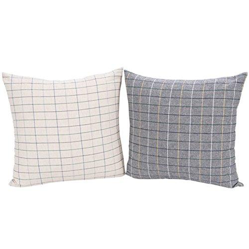 Dominique Cotton Decor Throw Pillow Case Checkers Design Cushion Cover Set of 2, (Dominique Cotton Blend)