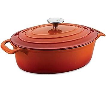 Korkmaz Casterra Oval Olla Utensilios Cocina Compatible con Inducción Rojo 28cm Gusseien A1471: Amazon.es: Hogar