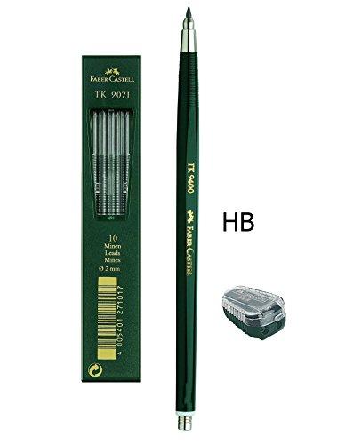 Faber-Castell - Fallminenstift TK 9400, Minenstärke: 2 mm, Härtegrad: HB + Ersatzminen und Minenspitzer