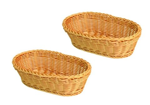 SET OF 2, 11-Inch Large Oval Tabletop Serving Baskets, Bread Roll Basket Baskets, Restaurant Serving/Diplay Baskets Thunder Group TG-PLBB1107-2QTY