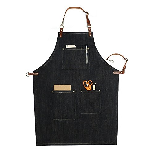 Home-organizer Tech Multi-Use Detachable Tool Apron Heavy Duty Denim Jean Work Apron Salon Barber Hairdressers Apron BBQ Gril Housewife Apron with Pockets, Adjustable for Men & (Barber Costumes)