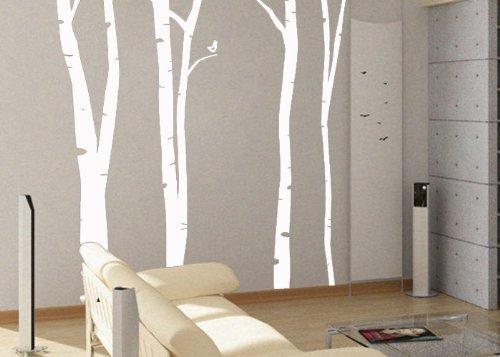 uBer Decals Vinyl Wall Decal Sticker Birch Trees 100 75x60 inches- Light Grey