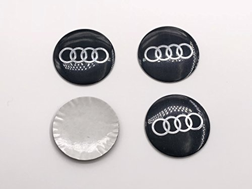 4Pcs 56mm 2.2'' Compatible With AUDI Wheel Center Hub Caps Emblem Decal Stickers