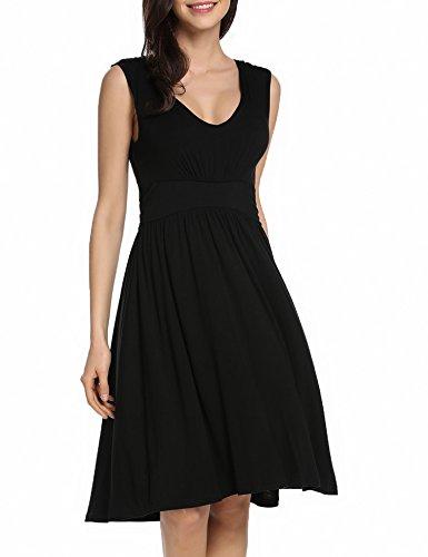 Beyove Women's Empire Waist Tank Summer Sleeveless V Neck Dress Empire Waist Tank Dress