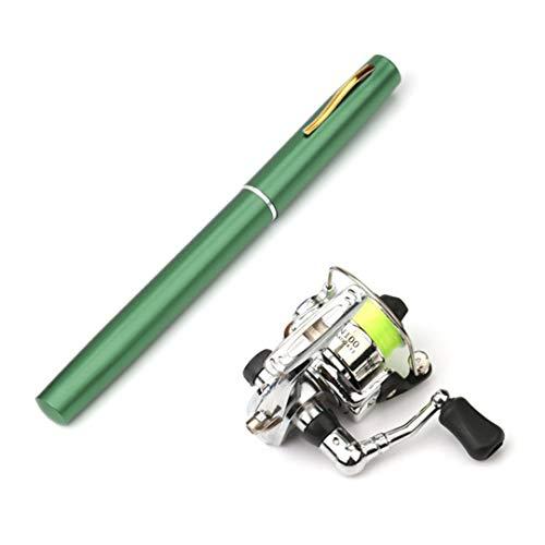 Tanfishes 1M / 1.4M Mini Pocket Pen Shape Aluminum Alloy Fishing Rod Portable Baitcasting Rods Pole + Fishing Reel Set Green 1.4m