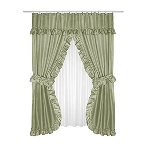 Royal Bath Double Swag Diamond Piqued PEVA Non Toxic Shower Curtain 70 X 72 With Matching Window 45