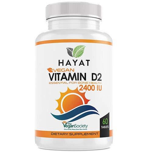 Hayat Vitamins Vegan Natural Vitamin D 2400 IU, D2, 60 tablets