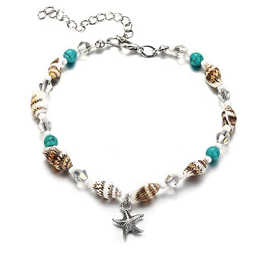 FINETOO Blue Starfish Charm and Turquoise Pearl Bead Link Anklet Adjustable Gifts for Women and Girls