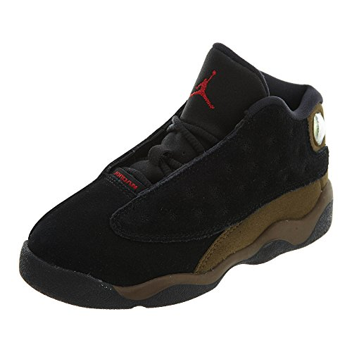 NIKE Jordan Retro 13'' Olive Black/Gym Red-Light Olive (Toddler) (8) by NIKE