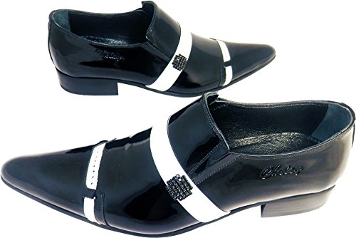 Original Chelsy - Italienischer Designer Freizeit und Party Slipper White Stripe gepunktet in schwarz mit Seitenbrosche handmade Kalbsleder